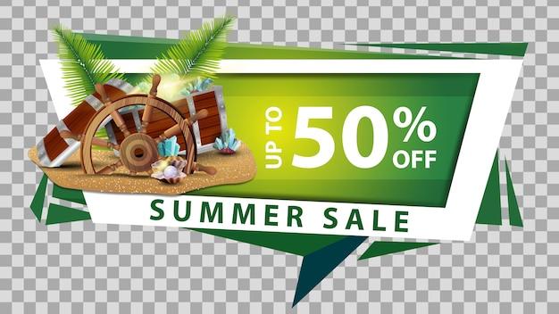 Venta de verano, banner web de descuento en estilo geométrico.