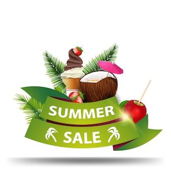 Venta de verano, banner web de descuento en forma de cintas para su negocio.