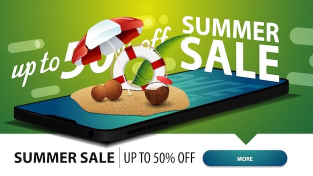 Venta de verano, banner web de descuento moderno para su sitio web con un teléfono inteligente