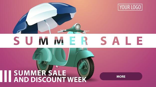 Venta de verano, banner de web de descuento rosa creativo para su sitio web.