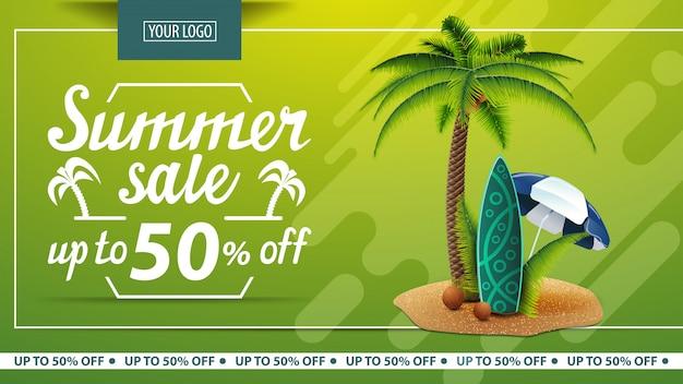 Venta de verano, banner web de descuento para tienda online.