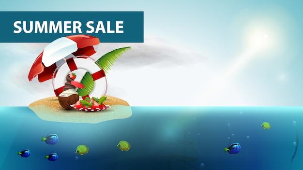 Venta de verano, banner de web de mar horizontal con cóctel de helado de coco.