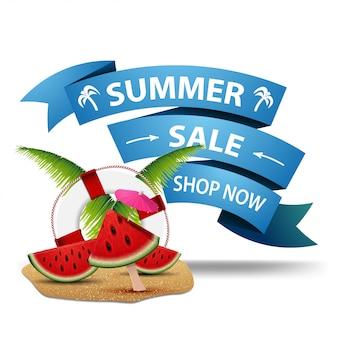 Venta de verano, banner web para tu creatividad en forma de cintas.