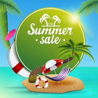 Venta de verano, banner web verde redondo para tu negocio.