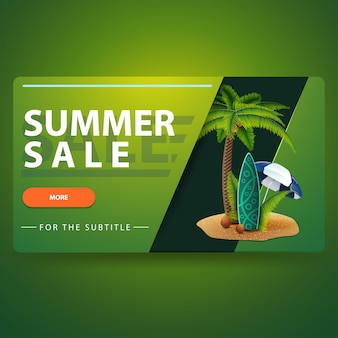 Venta de verano, banner web volumétrico 3d verde moderno.