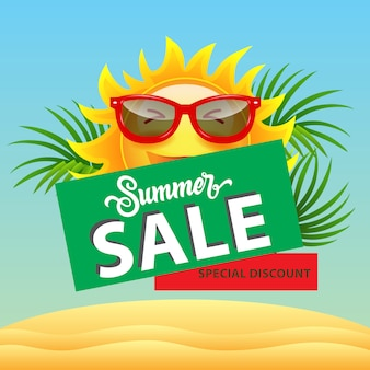 Venta de verano, cartel de descuento especial con sol de dibujos animados en gafas de sol