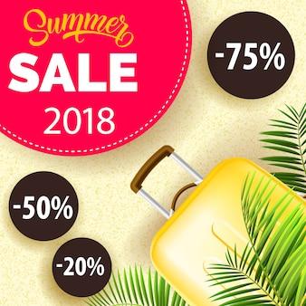 Venta de verano, cartel de veinte dieciocho con hojas de palma, bolsa de viaje de color amarillo
