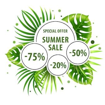 Venta de verano, cartel verde de oferta especial con hojas de palma y pegatinas de descuento.