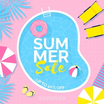 Venta de verano colorida con piscina