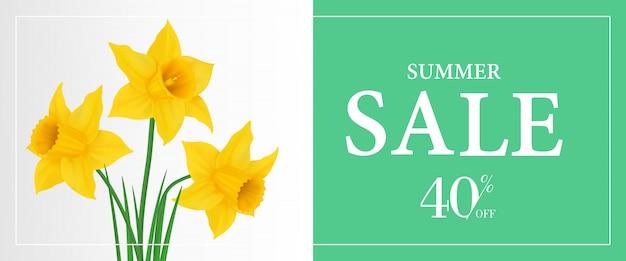 Venta de verano, cuarenta por ciento de plantilla de banner con narcisos amarillos sobre fondo verde.