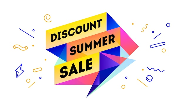 Venta de verano de descuento. banner de venta 3d con texto descuento venta de verano por emoción, motivación. plantilla web colorida 3d moderna sobre fondo negro.