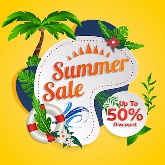 Venta de verano descuento social media tropical banner design