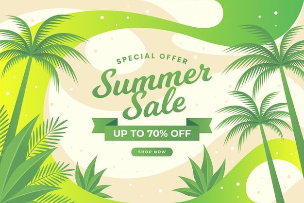Venta de verano diseño abstracto y árboles tropicales