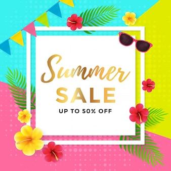 Venta de verano con diseño de cartel geométrico abstracto