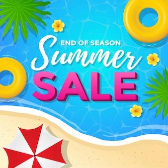 Venta de verano en el diseño de carteles de playa