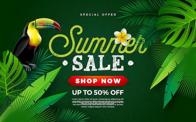 Venta de verano diseño con pájaro tucán y hojas de palma tropical.