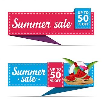 Venta de verano, dos banners de descuento horizontal en forma de cinta.
