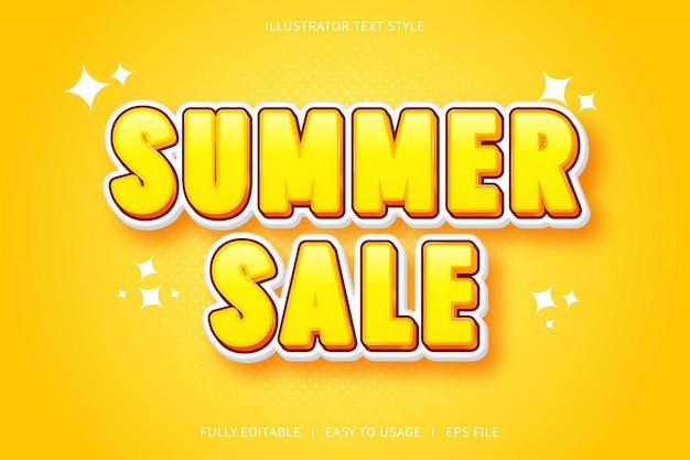 Venta de verano, efecto de fuente de estilo de texto 3d gradación amarilla
