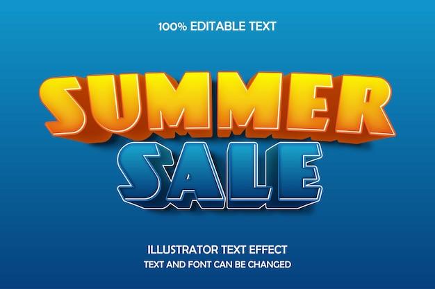 Venta de verano, efecto de texto editable 3d azul naranja sombra moderna estilo cómico
