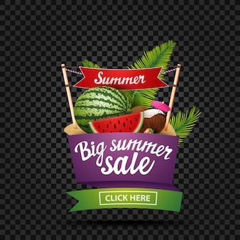 Venta de verano grande, banner de descuento aislado en un fondo oscuro en forma de cinta