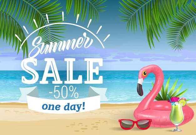 Venta de verano, letras de un día con playa de mar y anillo de natación. publicidad de venta