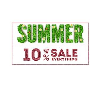 Venta de verano. letras grandes con follaje verde y una inscripción en forma de sello.