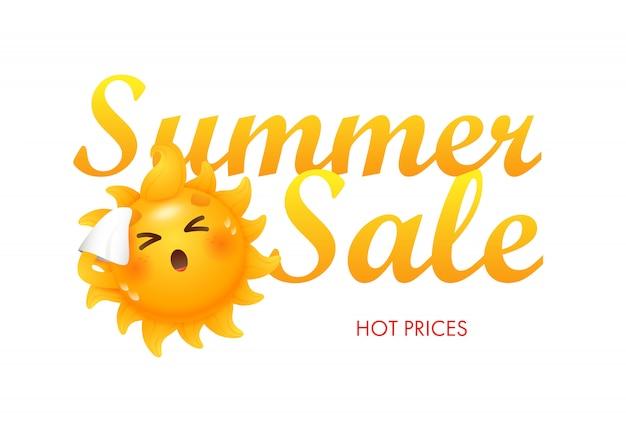 Venta de verano, letras de precios calientes con personaje de dibujos animados de sol.