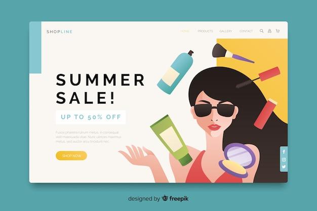 Venta de verano con mujer y página de inicio de productos