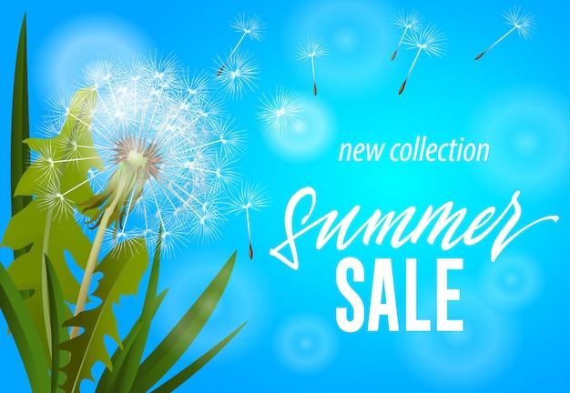 Venta de verano, nueva pancarta de la colección con soplar diente de león sobre fondo azul cielo.