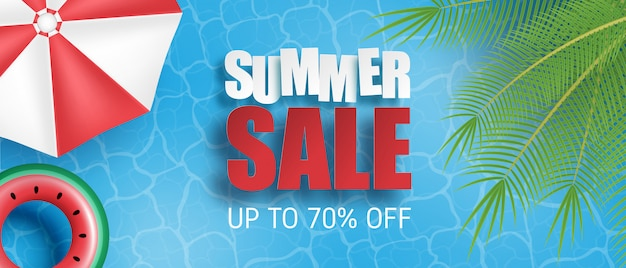 Venta de verano pancarta o póster. piscina con palmeras, sombrilla, anillo de natación desde la vista superior. plantilla de promoción comercial para la temporada de verano.