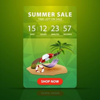 Venta de verano, plantilla de banner web con cuenta regresiva hasta el final de la venta