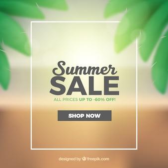 Venta de verano con playa en estilo realista