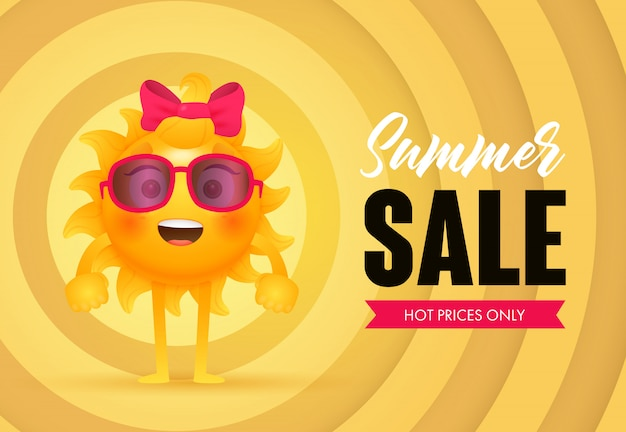 Venta de verano, precios calientes solo letras con carácter sol.
