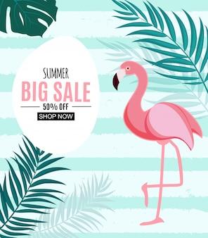 Venta de verano resumen banner con flamingo y hojas de palma