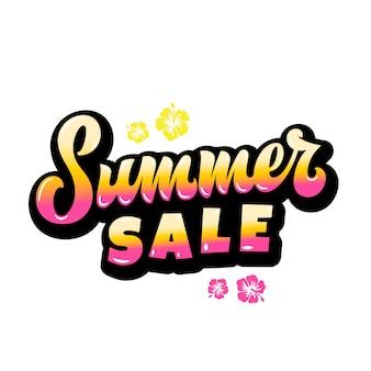 Venta de verano resumen hand lettering gard, cartel o plantilla de póster. con flores de hawaii y degradado amarillo rosa.