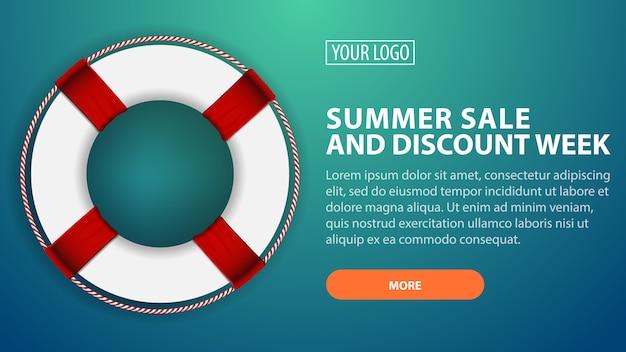 Venta de verano y semana de descuento, banner de descuento horizontal para su sitio web con boya.