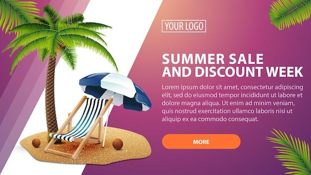 Venta de verano y semana de descuento, banner de descuento horizontal para su sitio web.