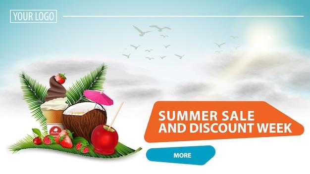 Venta de verano y semana de descuento, banner web seleccionable para su sitio web.