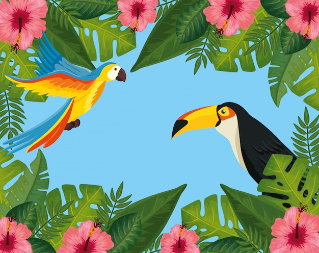 Venta de verano tropical con marco de flores y animales exóticos