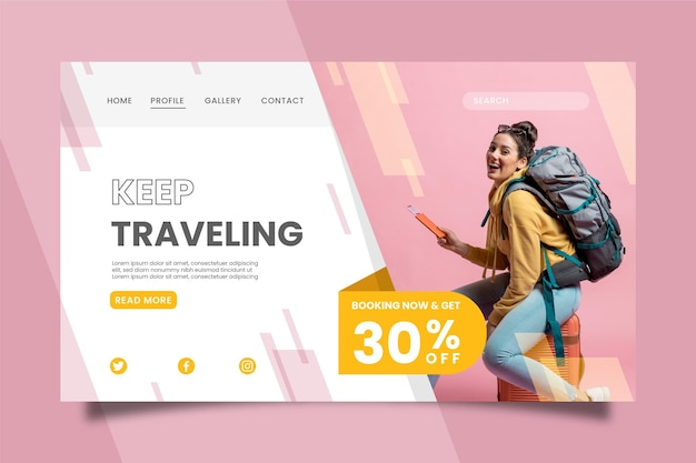 Venta de viajes - concepto de página de destino