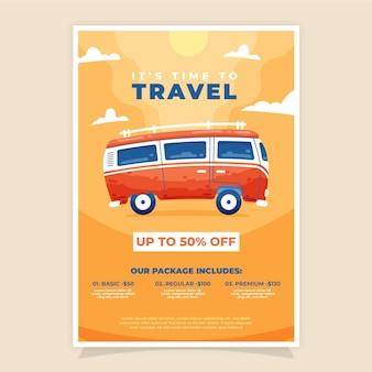 Venta de viajes diseño de volante ilustrado.