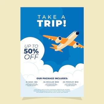 Venta de viajes estilo folleto ilustrado.