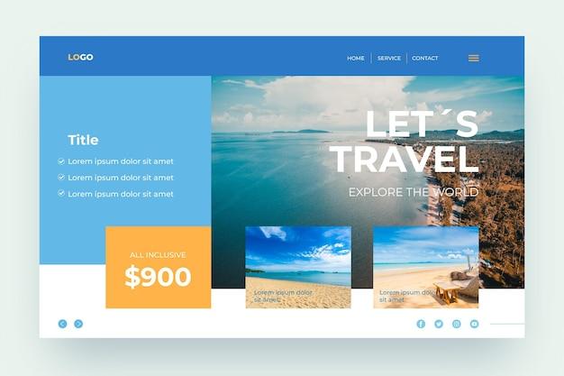 Venta de viajes con página de inicio de fotos