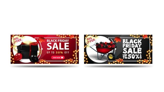 Venta de viernes negro, hasta 50% de descuento, conjunto de banners de descuento aislado sobre fondo blanco. banners horizontales rojos y negros con regalos.