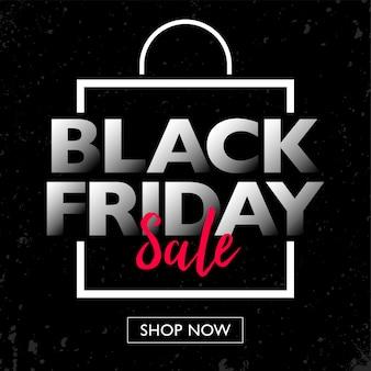 Venta de viernes negro con banner de concepto de marco de bolsa de compras