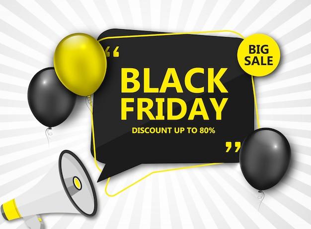 Venta de viernes negro. banner de descuento con globos