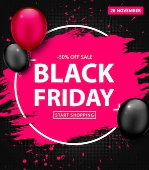 Venta de viernes negro. banner de descuento con marco grunge y globos