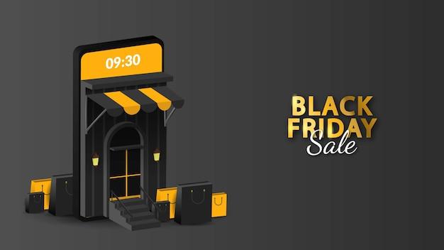 Venta de viernes negro en banner móvil