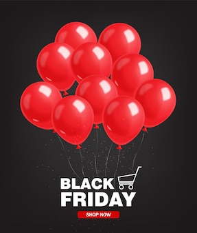 Venta de viernes negro, banner negro, super venta, oferta especial, plantilla de diseño, ilustración de globos rojos