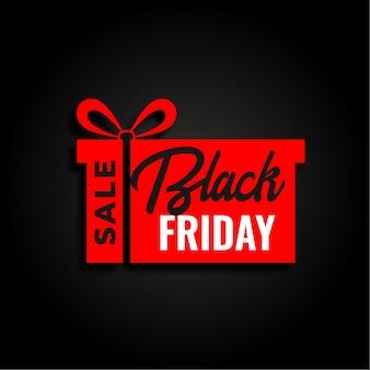 Venta de viernes negro y diseño de fondo de regalo rojo